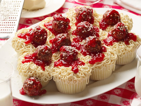 Recipe Spaghetti And Meatballs Cupcakes Duncan Hines
