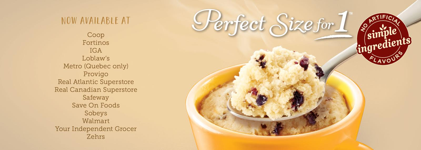 Duncan Hines for Perfect Size for 1 mug cake mixes are available across Canada